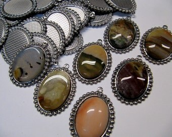 Cabochon Bezel, 25x18mm, 6 Piece, Glue In, Stainless Steel, Lapidary Supply, Cabochon Setting, Rock Hounds, Rock Clubs