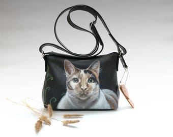Custom Pet Portrait Personalized Leather backpack purse black