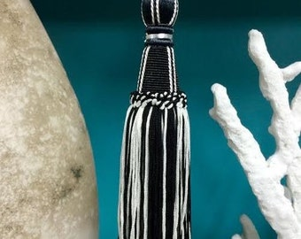 3 Whimsical Black and Creamy White Imperial Tassels.....NEW......Current Design...