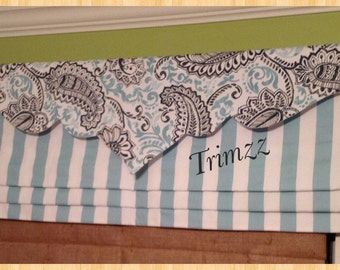 Made To Order......Overlay Valance for Mock Roman Shade......Lining INCLUDED......using Your Fabric or Mine.