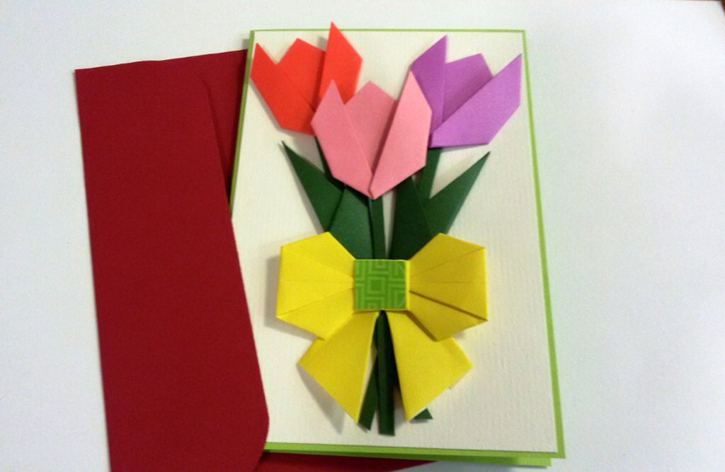 handmade origami paper flower card mothers day tulip