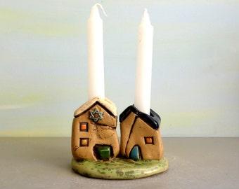 Candle stick holder , Shabbat Candle holders , Romantic gift pair of houses , Jewish Shabbat candle sticks holders , Ceramic candle holders