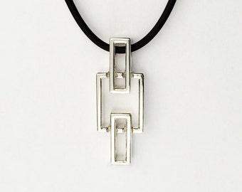 Sterling Silver Pendant, Geometric Necklace, Minimalist Pendant, Silver Necklace, Unique Modern Necklace, square pendant, Nordic design