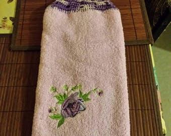 Bathroom Hand  towel  with crocheted hanging top.