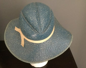 Antique 30's Blue Speckled Woven Straw Hat Formed