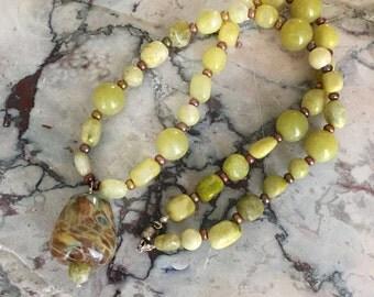 Aventurine and Lampwork Necklace