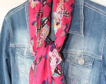 Women's scarves - Red scarf -Unique handmade scarf - Fashion scarf - Butterfly scarf - Butterflies accessories - Summer scarf - Spring scarf