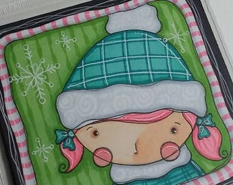 Winter Girl 4x4 Original painting by Megan