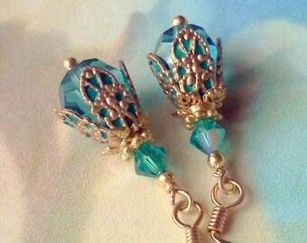 Swarovski Crystal Earrings, Aqua Teal Earrings, Plique a Jour, Hand Painted Jewelry, Victorian, Vintage Style Jewelry, Teal Filigree Dangles