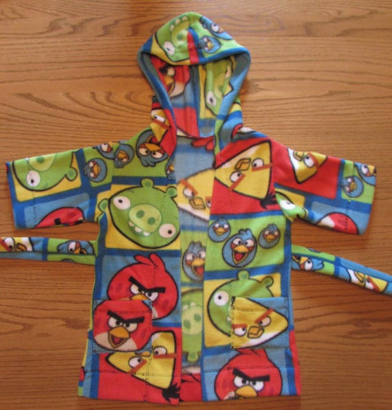 Angry Bird robe/Boys Angry bird robe/ boys fleece robe/hooded robe/long robe/character fleece robe/boys angry bird robe/boys robe