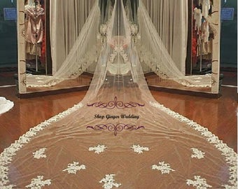 Lace Edge 1 Tier Tailor Custom Handmade Scalloped Sequins  Cathedral  Royal Wedding Bridal Veil