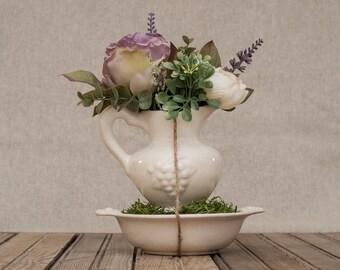 Spring Floral Arrangement in White Vintage Pitcher