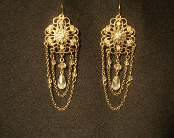 Vintage Floral Gold Tone Chain Style Chandelier Earrings with Pink Stones