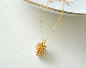 Little Pinecone Necklace, Dainty Layer Jewelry, Gold Filled Necklace, Woodland Inspired, Minimalist Necklace
