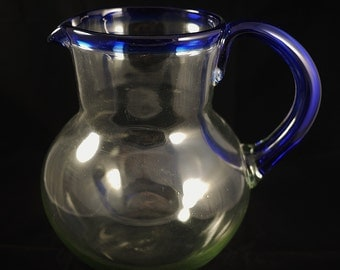Vintage Mexican Hand Blown Glass Pitcher