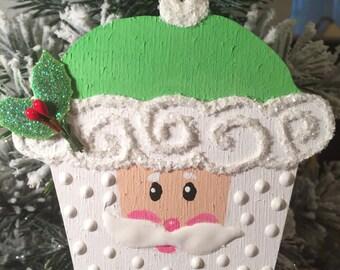 Santa cupcake ornament.