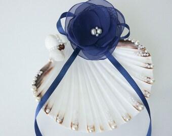 Shell ring holder, Wedding Ring Holder, Seashell Ring Bearer Wedding Ring, Ring Bearer, Beach Wedding, Sea Shell Ring Bearer, navy blue