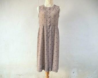 1980s vintage light brown dress/ midi dress/ summer dress/ sleeveless chiffon dress size small to medium