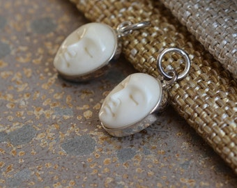 Small Carved Moon Face Bone Charms,Sleeping Buddha,Carved Bone Moon Face, Sterling Silver,Bali Bone Moon Face,10mm Charm,Pairs, BS17-0126i