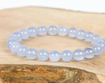 Chalcedony Bracelet, Natural Blue Gemstone Jewelry, Handmade Gemstone Jewelry, Gemstone Bracelet, Handmade Jewelry, Gemstone Jewelry