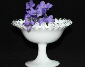 Fenton Ruffled Silver Crest Silvercrest Pedestal Milk Glass Bowl with Crystal Edging * Baby Bridal Shower Centerpiece Wedding Decor
