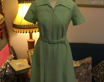 1970s M&S (St Michaels label) Belted Day Dress- Pale Green- Original Label size 14. VGC