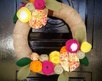 Spring/Summer Burlap Wreath, Felt Flower Wreath, Spring Decor, Summer Decor, Fabric Flower Wreath
