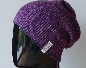 Beanie hat made from fine Italian Merino Wool in Berry