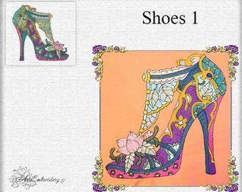 Ladies High Heel Flower Shoes 1 - Machine Embroidery Design  for the shoe lover.
