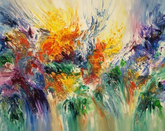 """Large Abstract Painting 61.0 """" x 41.3 """" Original Acrylic,""""Floating XL 1""""   by the artist Peter Nottrott."""