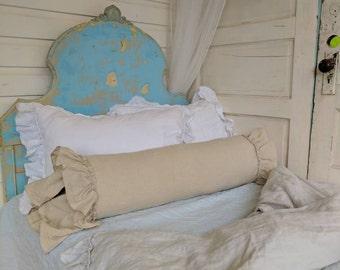 Ruffled Linen Bolster Pillow Natural Belgium Flax Linen Bedding Shabby Chic