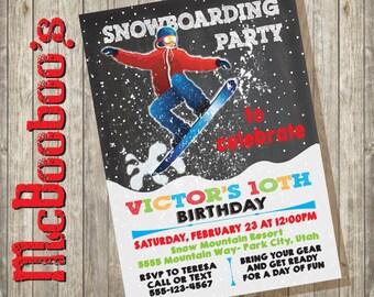 Snowboarding Birthday Party Invitation