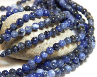 4mm Sodalite, 4mm Blue Beads, Sodalite Beads, Blue Beads, Blue Sodalite, Blue Gemstones, Sodalite Gemstone Beads, Small Blue Beads, B-1A