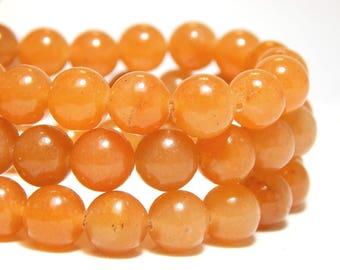 8mm Orange Aventurine, 8mm Aventurine, 8mm Orange Beads, Orange Beads, 8mm Red Aventurine, 8mm Orange Gemstones, 8mm Gemstones, B-7B