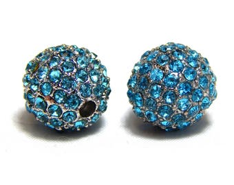 2 10mm Turquoise Crystal Pave Beads, Rhodium Plated, High Quality Pave, Turquoiose Pave Beads, Crystal Beads, 10mm Pave Beads, T-101A