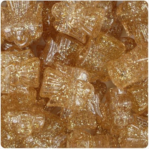 24 Gold Sparkle 22mm Christmas Angel Plastic Pony Beads
