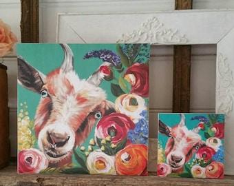 Floral goat artwork - PRINT of original painting on WOOD - farmhouse decor