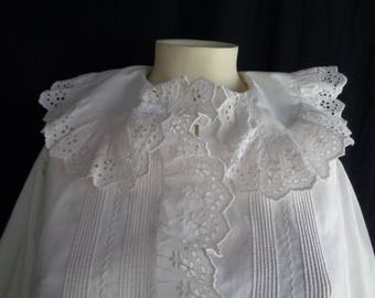 1900's hand made nightdress white cotton broderie anglaise trim