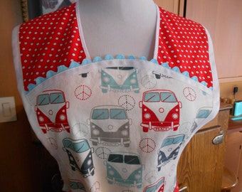 Retro Style Full Apron with Classic VW Bus Print