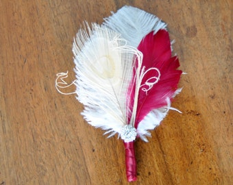 Wedding Boutonniere Ostrich Feather Bridal Ivory Wine Great Gatsby 1920s groomsmen boutonnire Bridal groom feathers boutonniere button hole