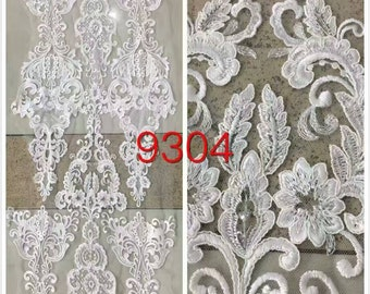 5yards wedding corded lace fabric ,embroidery lace with 3D flower, white lace fabric -9304