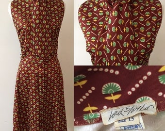 M/L 1960s Lord & Taylor Novelty Print Secretary Dress