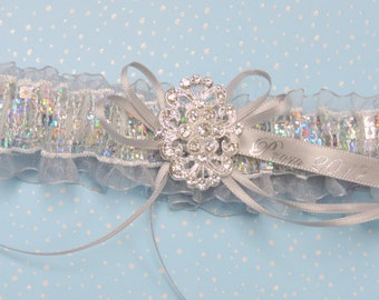Prom garter in silver with rhinestone centering/  Prom garters