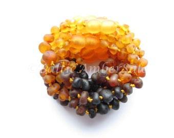Amber Teething Wholesale, Lot of 10 Rainbow Raw Unpolished Baltic Amber Baby Teething Bracelets/Anklets