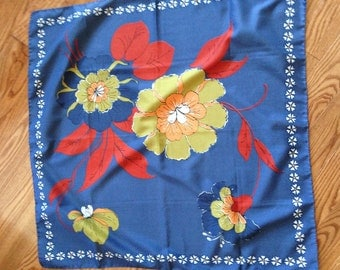 Bold Blue Scarf with Red, Orange and Blue Flowers, and White Flower Border