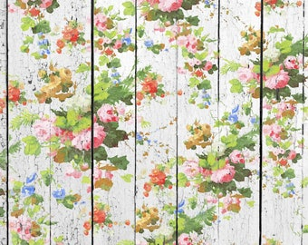 Wall Decal MURAL - Garden Gate - Floral - 60 inch Wide by 36 Tall Decal | Charming Shabby Romantic Vintage | Distressed Paint Look