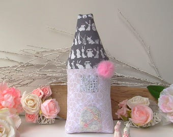 House cushion, Tooth fairy pillow, plush house, fairy cottage with bunnies & pink pompom. Great gift for Birthday, Christmas, baby shower