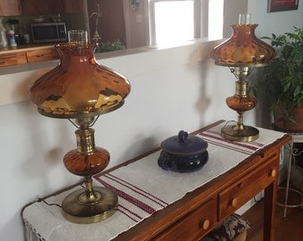 1950s Amber Glass Lamps.