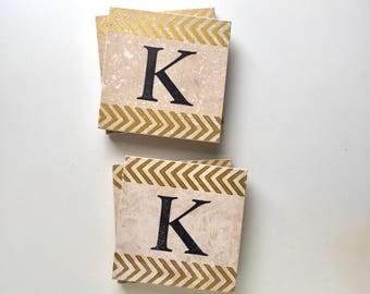 Monogram Chevron Coasters, Custom Gift for Couple, Personalized Tile Coasters, Custom Hostess Gift