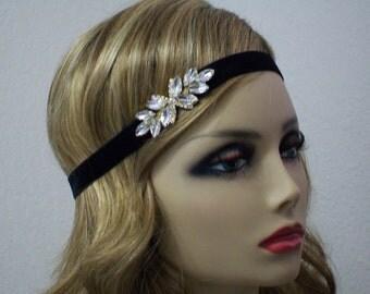 Gatsby headband, New Years Eve, Black 1920s headband, Flapper headpiece, 1920s dress, Gatsby style, 1920s hair accessory, Roaring 20s